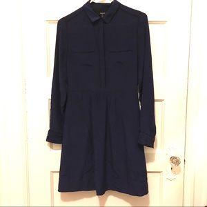 Madewell 100% silk navy dress